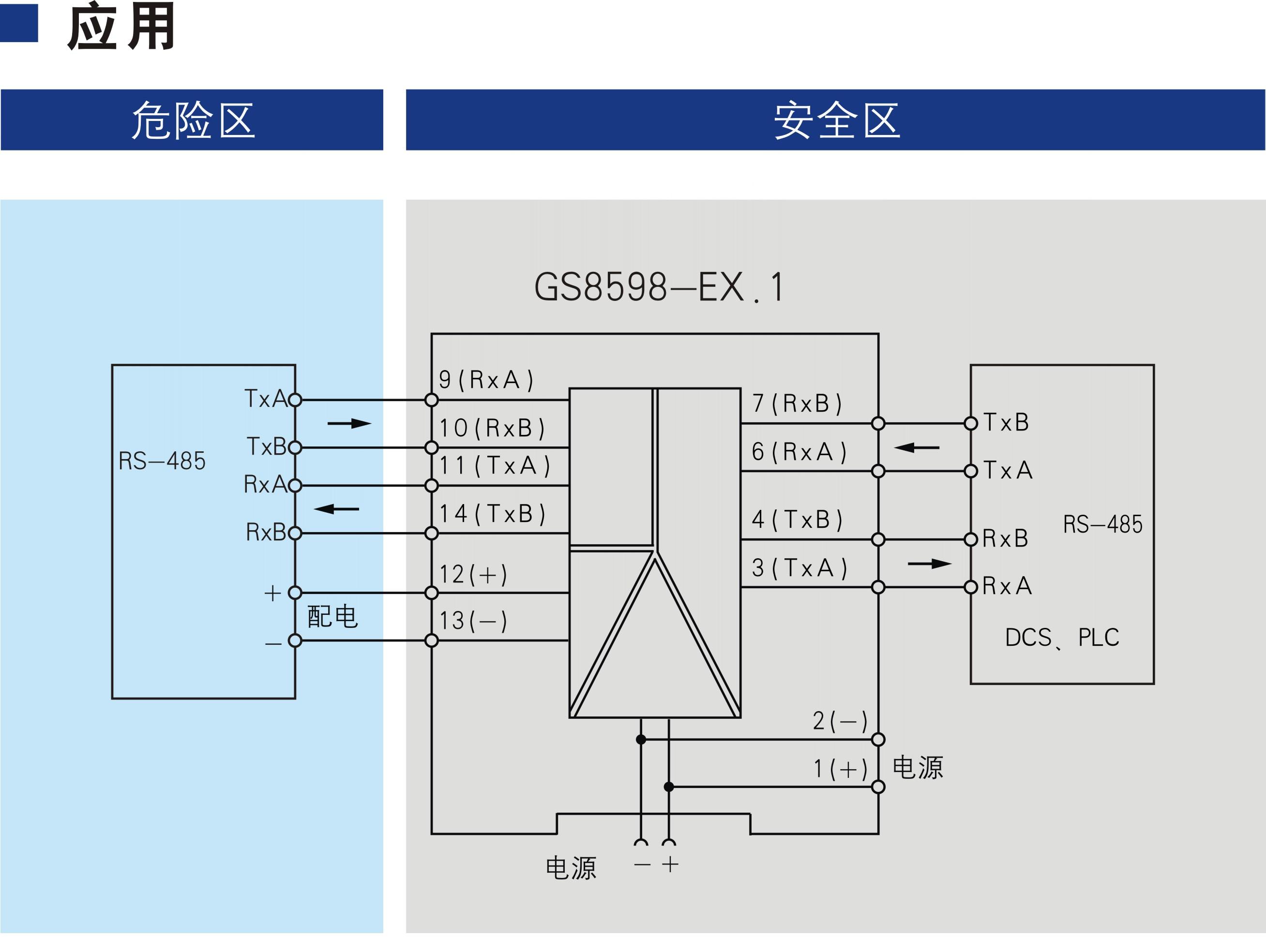 一进一出 RS-485全双工输入RS-485全双工输出隔离式安全栅