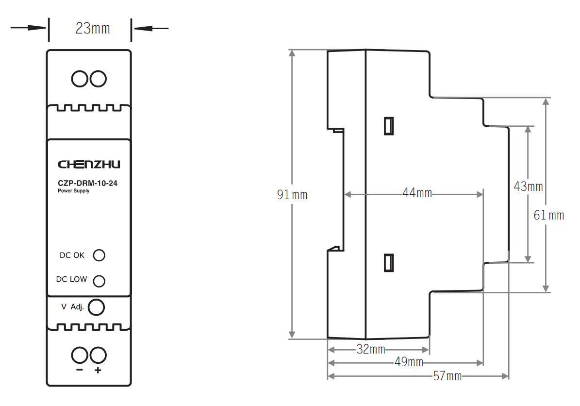 导轨型开关电源10W/24V输出