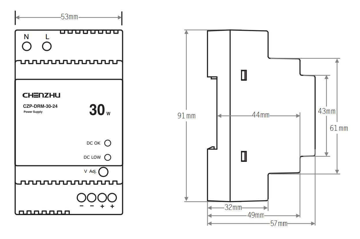 导轨型开关电源30W/24V输出