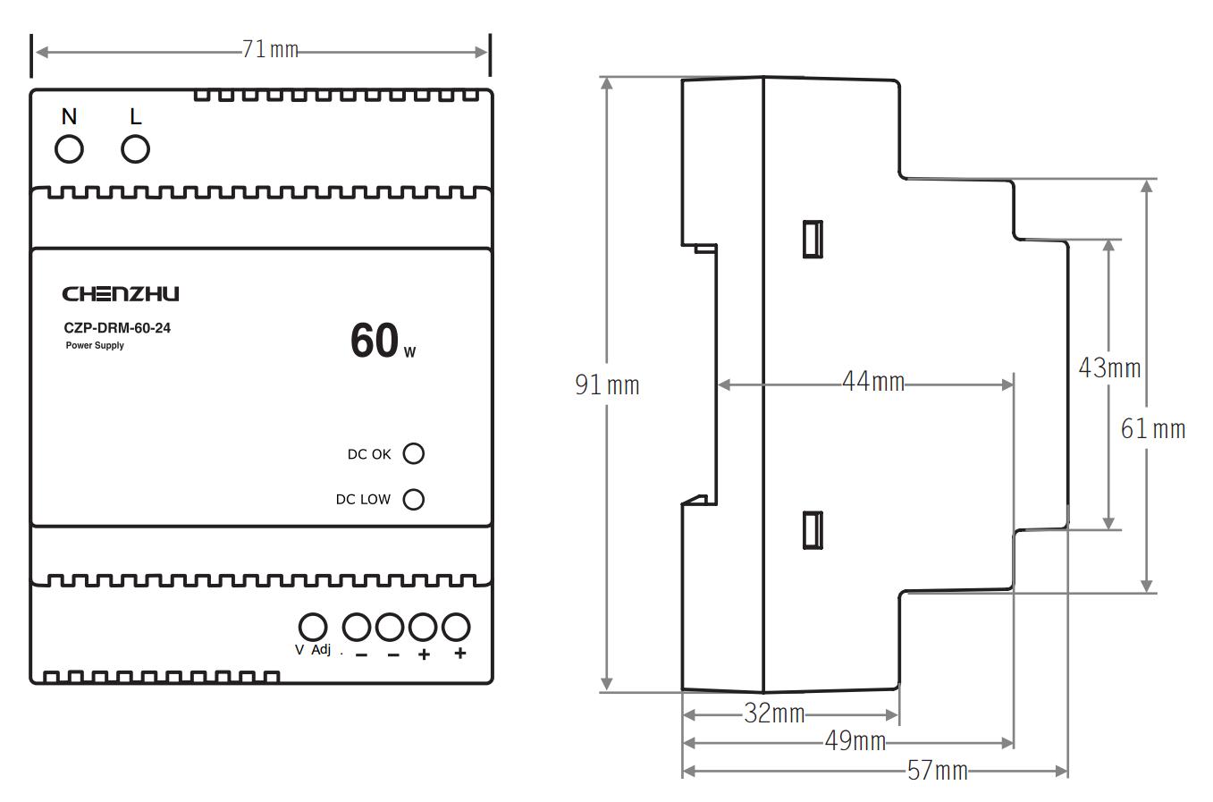导轨型开关电源60W/24V输出