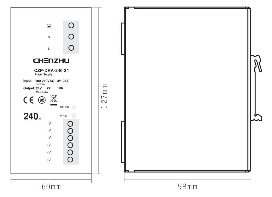 导轨型开关电源240W/24V输出